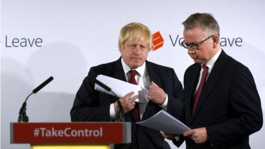 Michael Gove (right) had been expected to throw his weight behind Boris Johnson for Tory leader and PM. After he withdrew that support to fight for the leadership himself, Johnson threw in the towel. [Image: Reuters].