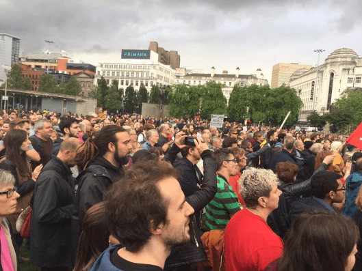 "Supporters at the Manchester rally on July 1, all sending a message to the Parliamentary Labour Party: ""We stand with Jeremy Corbyn; we stand for democracy."""
