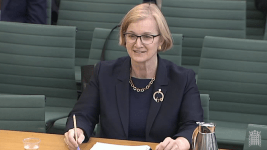 Amanda Spielman gave evidence to MPs on the Education Select Committee last month. This picture is being used because it seems less off-putting than anoth shot of staring-eyed 'Thicky' Nicky Morgan. [Image: Parliament TV].