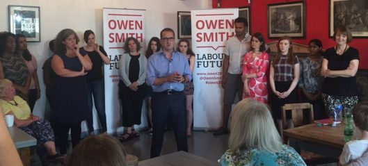 """Owen Smith launching his attack on misogyny. Twitter critics were quick to point out that he mentioned no concrete action at all, despite Jeremy Corbyn having been criticised for the same over his plan to end workplace discrimination. And then there was, """"Why are you doing that stupid legs apart stance that the Tories do?"""" (To which the answer seems to be, because he is keen to join the Lynton Crosby school of style."""