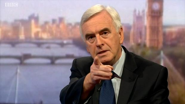 Direct to camera: John McDonnell appeals for Labour Party unity during his Marr Show interview on July 24, 2016.