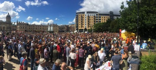 ... This was the size of the crowd Mr Corbyn was addressing. [Image: From Twitter].