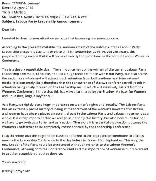 160808 Corbyn letter leadership announcement