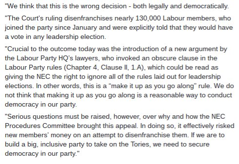 160813 corbyn statement on appeal ruling