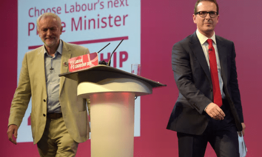 Jeremy Corbyn (left) and Owen Smith at the first Labour leadership debate [Image: Ben Birchall/PA].