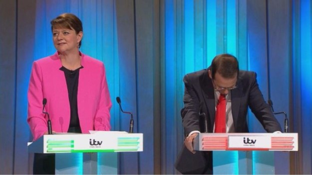 """Leanne Wood (left) - only ever invited on TV because of her """"gender"""", according to Owen Smith (right). Mr Smith also thinks south Wales has been """"overrun"""" by refugees from Syria, even though none have come to his Pontypridd constituency."""