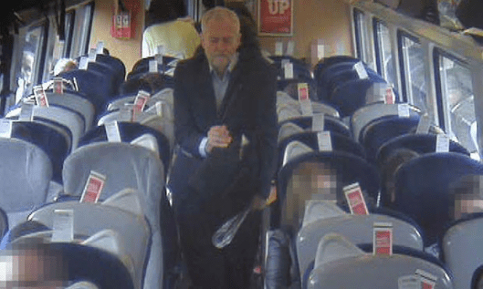 Jeremy Corbyn in a CCTV image released by Virgin [Image: AFP/Getty Images].