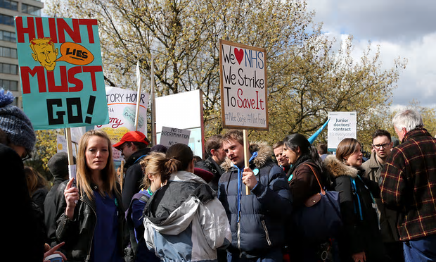 Junior doctors on strike in London earlier this year [Image: Xinhua/Barcroft Images].