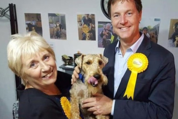 Gail Smith and Nick Clegg with 'lucky mascot', Charlie the dog [Image: Sheffield Star].