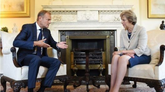Theresa May met European Council president Donald Tusk last week in London [Image: EPA].