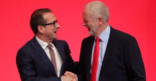 Owen Smith congratulates Jeremy Corbyn on his win.