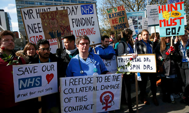 Junior doctors and supporters protest outside St Thomas' hospital, London, in April [Image: Stefan Wermuth/Reuters].