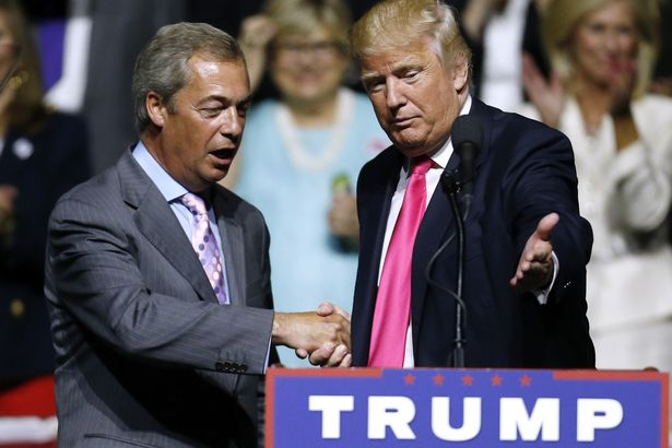 "Nigel Farage claims Donald Trump's comments are just ""alpha male boasting"" [Image: Jonathan Bachman/Getty Images]."