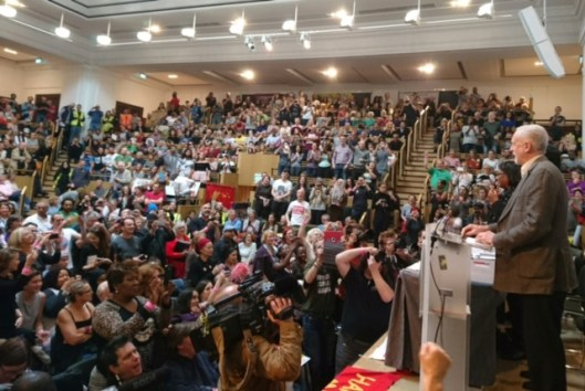 Jeremy Corbyn speaking at the controversial Stand Up To Racism conference on Saturday. Was he right to attend? [Image: Socialist Worker.]