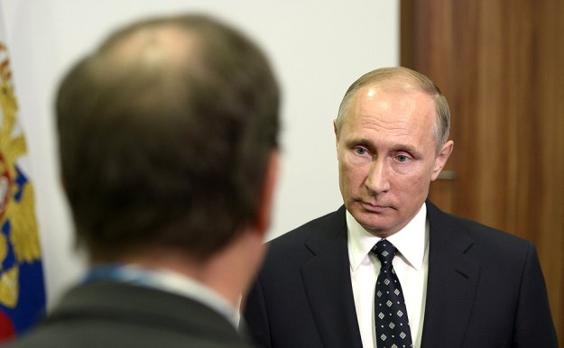Vladimir Putin, interviewed by a journalist from French TV channel TF1.