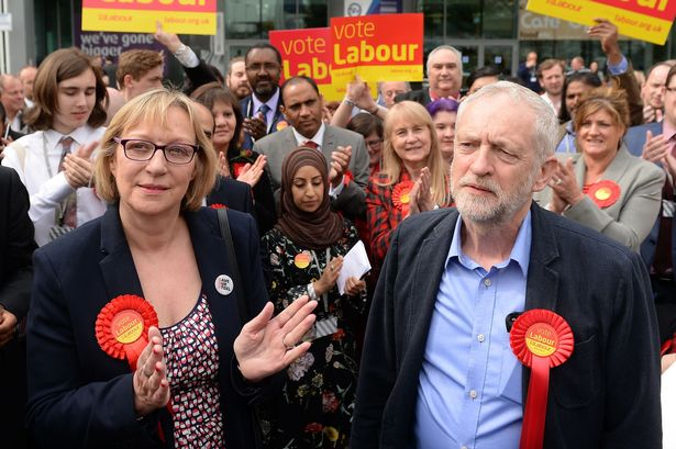 Shadow minister for the steel industry Gill Furniss, left, with Jeremy Corbyn, right [Image: PA].