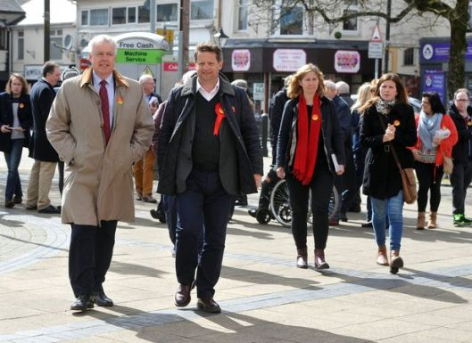 Welsh Labour leader Carwyn Jones campaigning with Alun Davies in Blaenau Gwent in the run-up to this year's Welsh Assembly elections [Image: Wales Online].