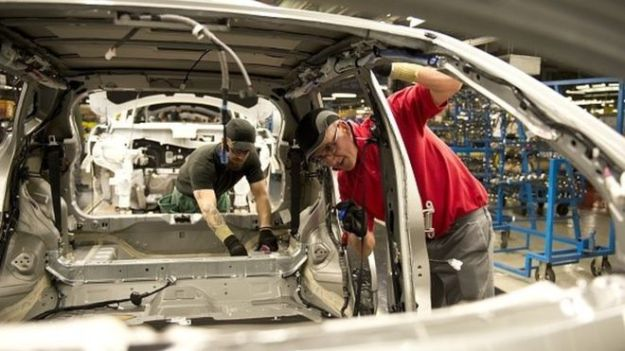 The production line was stopped at 11:00 BST on Thursday so workers could be told about the decision [Image: Getty Images].