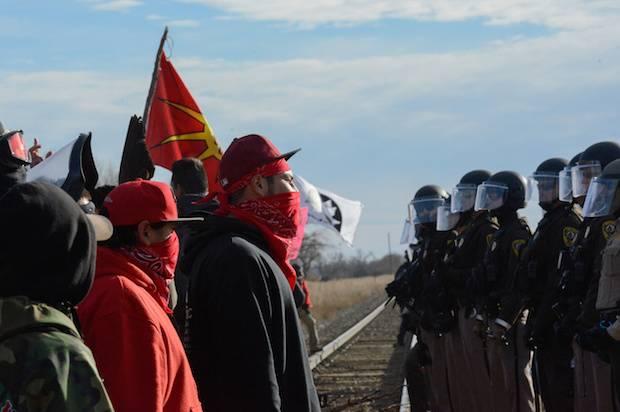 A protest against the Dakota Access pipeline near the Standing Rock Indian Reservation, North Dakota, November 15, 2016 [Image: Reuters/Stephanie Keith].