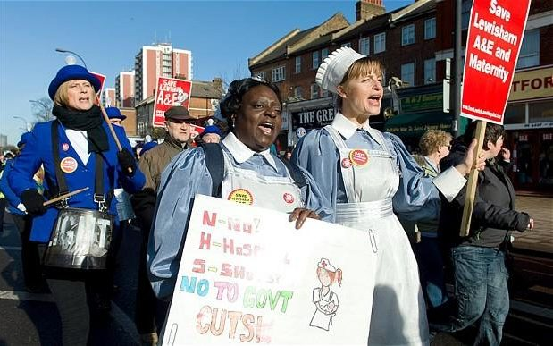 Plans to shut down Lewisham's A&E and maternity units sparked protests in 2013 [Image: Telegraph].