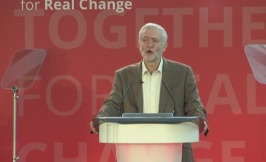 Jeremy Corbyn criticises 'fake anti-elitism' of Trump and Farage, at Labour's National Policy Forum.