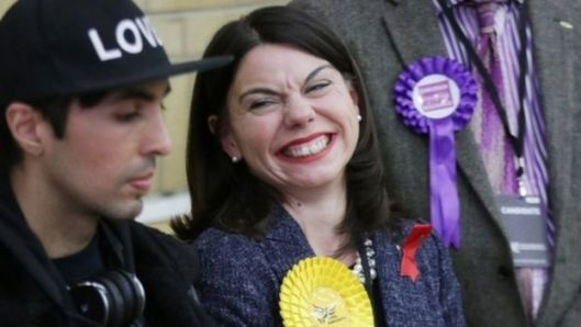 Sarah Olney smiles after winning the Richmond Park by-election [Image: PA].