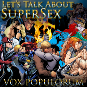 Episode artwork with several superheroes kissing and having supersex.