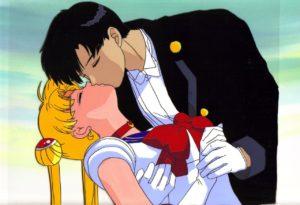 Tuxedo Mask kissing Sailor Moon for the female kid gaze.