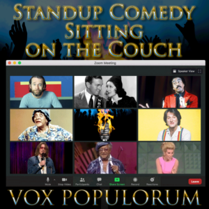 Standup Comedy episode artwork featuring legendary comedians in a Zoom window
