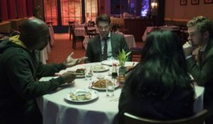 Chinese dinner scene from The Defenders. Characters with no superhero costume