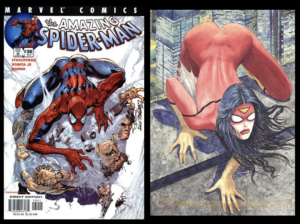 """Spider-man and Spider-Woman in the controversial """"Manara Pose"""""""