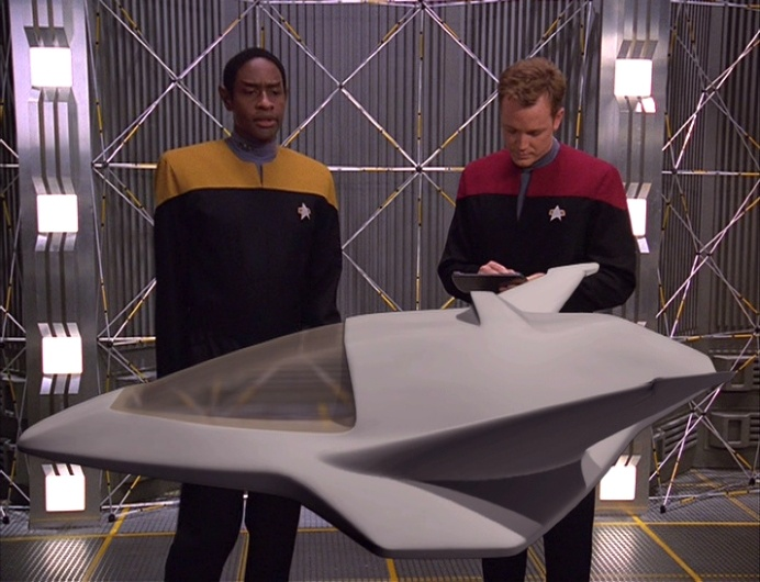 Tuvok nixes Paris's idea of tail fins on the Delta Flyer