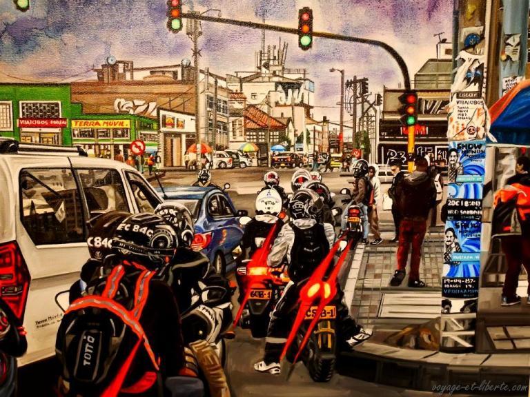 Une vue de la circulation dans Bogota par l'artiste Villalobos Forero