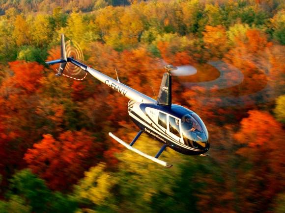 Hélicoptère survolant une forêt aux couleurs éclatantes.