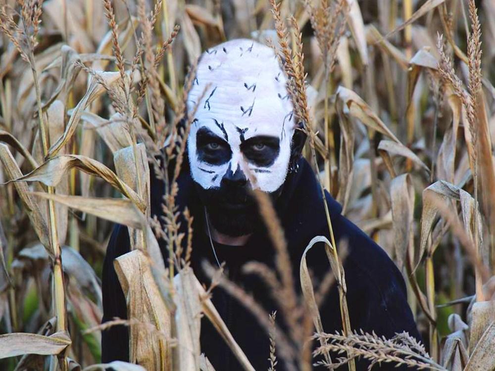 Homme effrayant dans un champ de maïs.