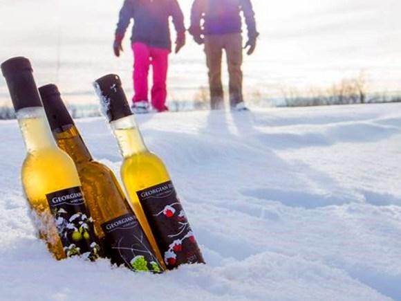 Deux personnes en raquette marchant en direction de trois bouteilles de vin