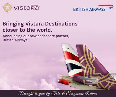 ブリティッシュ・エアウェイズ(BA)がインドのヴィスタラ(UK)と提携開始