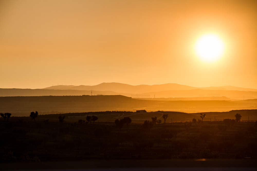 coucher soleil desert espagne bardenas