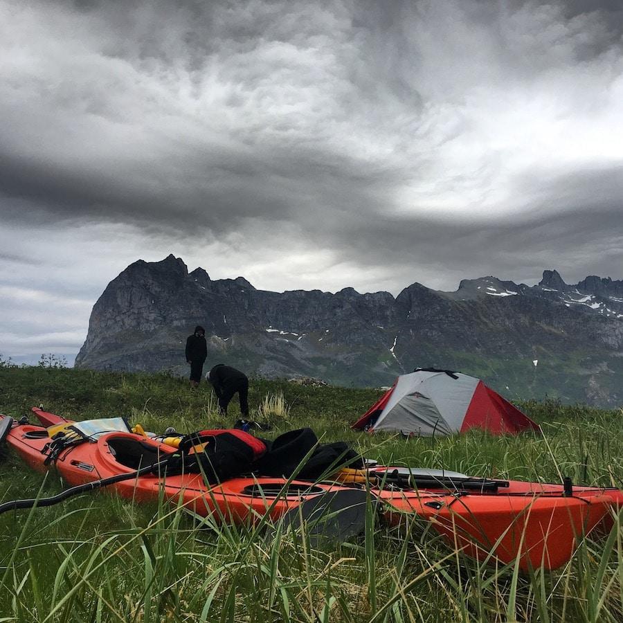 campement voyage kayak de mer Norvege