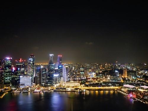 Singapur panorama noca