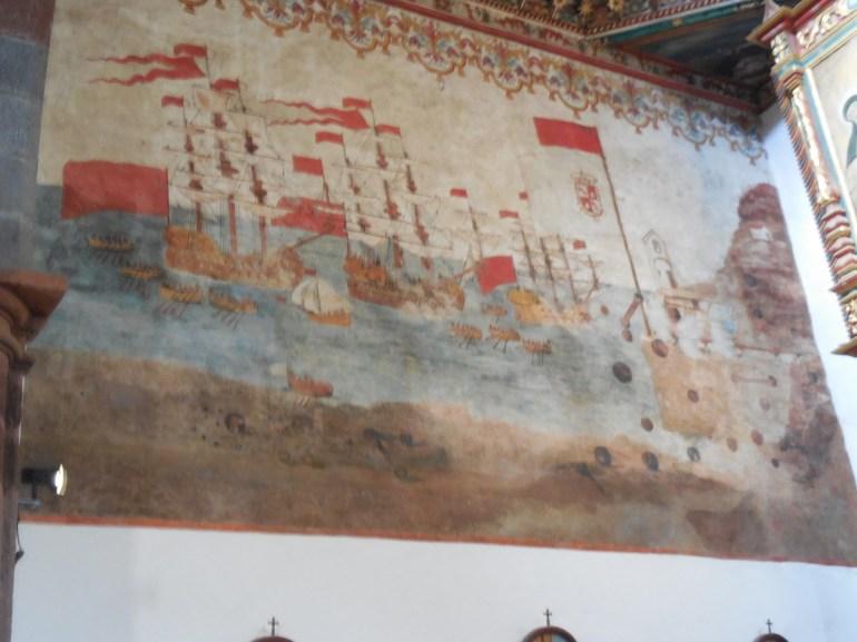 Peinture représentant l'attaque de l'île par les Anglais.