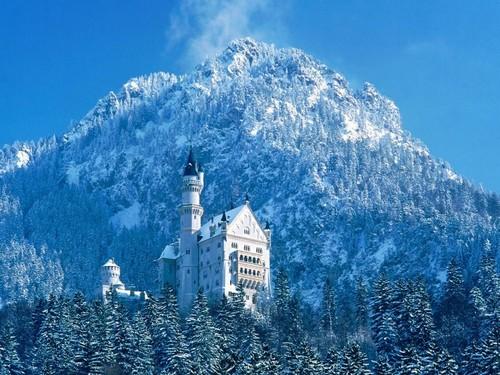 Château Neuschwanstein ; château de Louis II de Bavière dans les Alpes Bavaroises 2