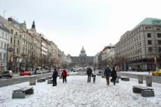 Avenue Venceslas sous la neige à Prague