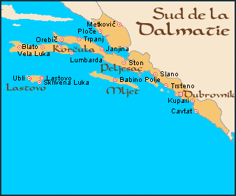 Carte sud de la dalmatie