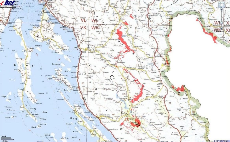 carte des mines en lika senj région de plitvice