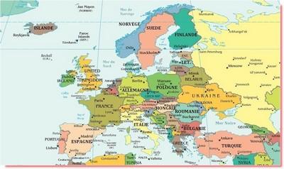 vacances en Europe Carte
