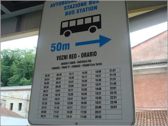 Piran autobus station Voyage de lItalie aux Balkans (Slovénie, Croatie, Serbie, Macédoine, Albanie)