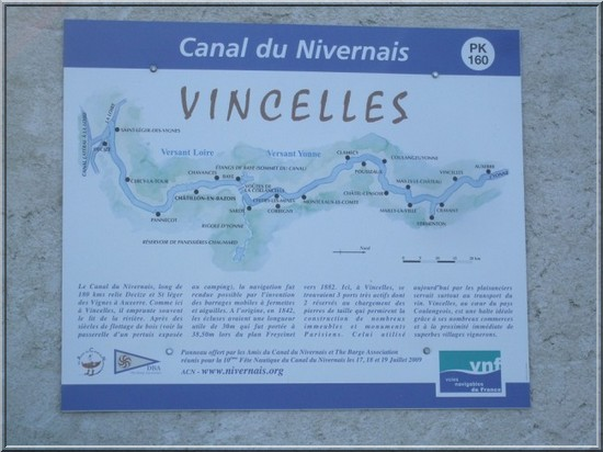 canal du nivernais Vincelles indicateur