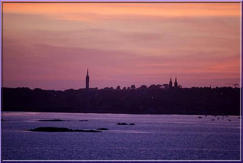 carantec clochers saint-pol coucher du soleil