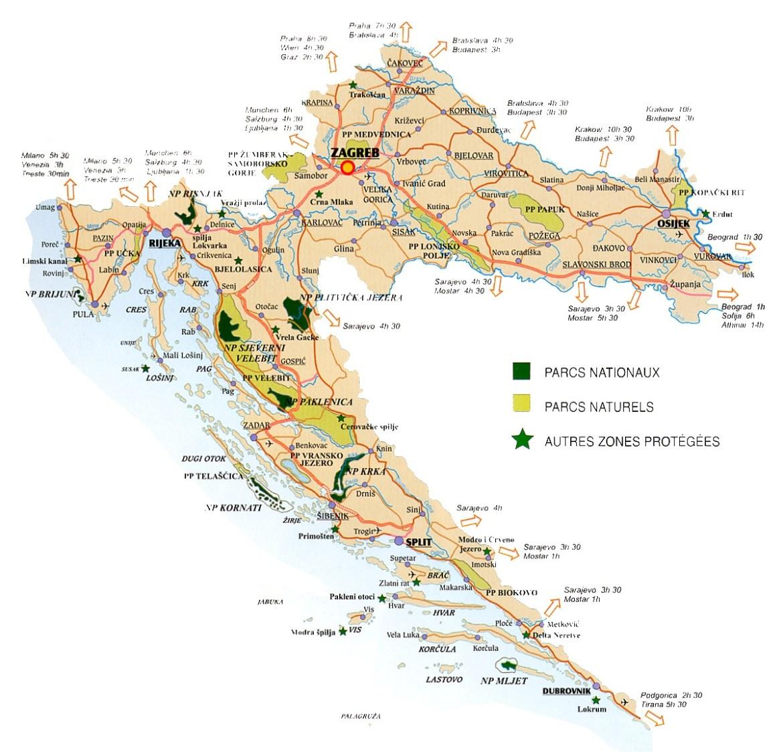 carte croatie parcs nationaux naturels